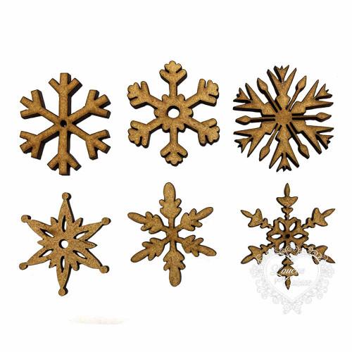 Flocos de neve - 3,5 a 4 cm - 6 unid
