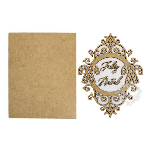 Placa Feliz Natal com Moldura de Arabescos e Bengala Natalina - 22,5x18,5cm