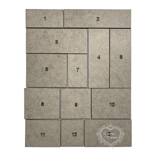 Jogo de 13 Plaquinhas retangulares - Chipboard