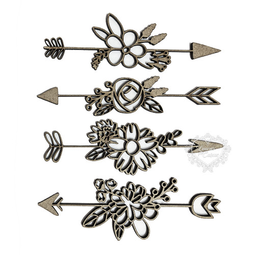 Kit Flechas Florais Em Chipboard - Tamanho P