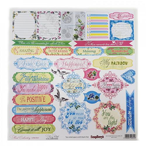 Papel Coleção Floral Embroidery Fancy Cloth 30x30 cm