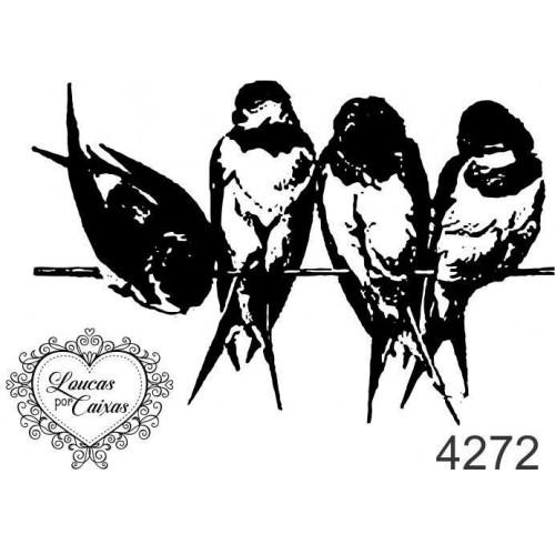 Carimbo Pássaros P Ref 4272  - 5,5 X 3,7  Cm