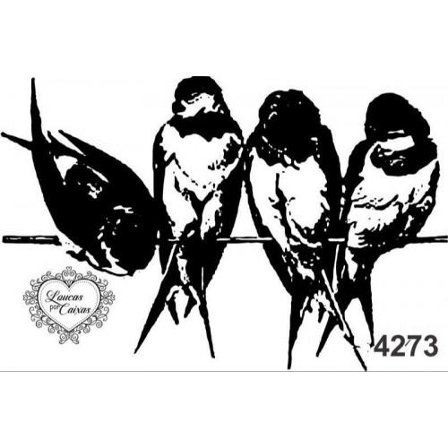 Carimbo Pássaros G Ref 4273 - 8,6  X 5,7 Cm