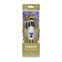 Kit Fusion Angular Com 7 Pincéis Chanfra..