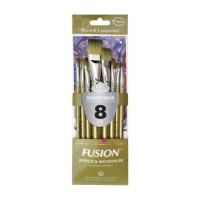 Kit Fusion Shader/ Wash Com 8 Pincéis Ch..