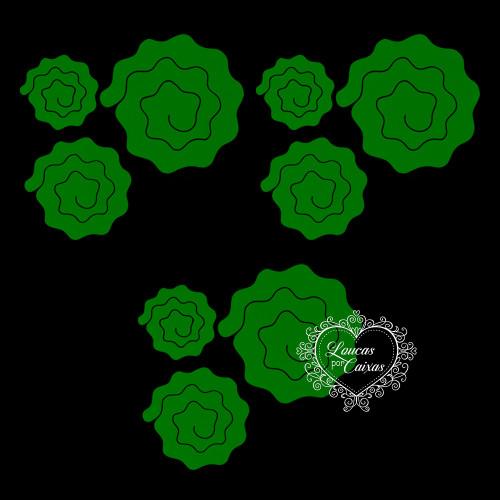 3 KITS COM 3 TAMANHOS DE RECORTES DE  FLORES EM ESPIRAL ONDULADAS - 6,5 A 12 CM - 9 UNID - Verde Escuro