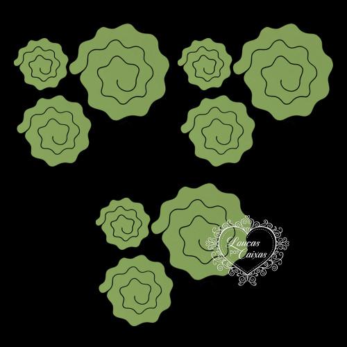 Kit Recortes Flores em Espiral  Onduladas - 9 Peças - 16PP - Verde Grama