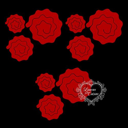 Kit Recortes Flores em Espiral  Onduladas - 9 Peças - 16PP - Vermelho