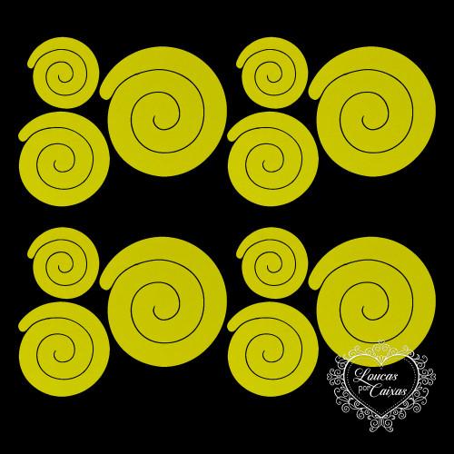 Kit Recortes Flores em Espiral Retas - 9 Peças - 17PP - Amarelo