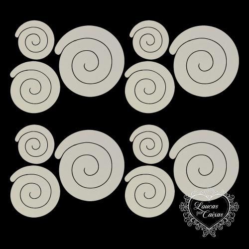 3 KITS COM 3 TAMANHOS DE RECORTES DE FLORES EM ESPIRAL RETAS - 6 A 11 CM - 9 UNID - Marfim