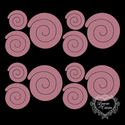 3 KITS COM 3 TAMANHOS DE RECORTES DE FLORES EM ESPIRAL RETAS - 6 A 11 CM - 9 UNID - Rosa Chá