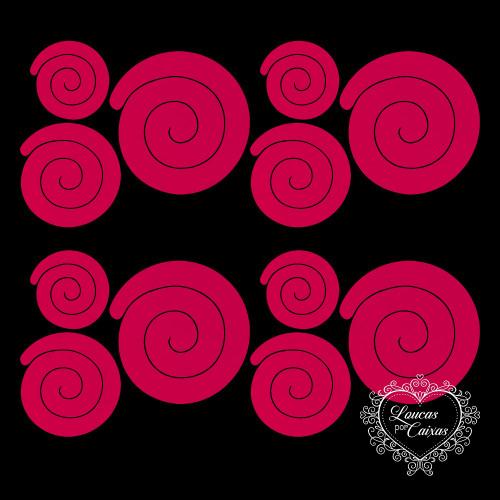 Kit Recortes Flores em Espiral Retas - 9 Peças - 17PP - Rosa Pink