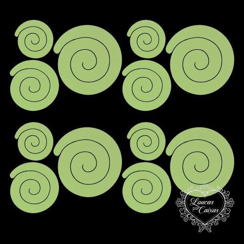 3 KITS COM 3 TAMANHOS DE RECORTES DE FLORES EM ESPIRAL RETAS - 6 A 11 CM - 9 UNID - Verde Grama