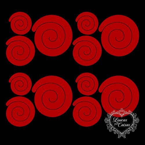 3 KITS COM 3 TAMANHOS DE RECORTES DE FLORES EM ESPIRAL RETAS - 6 A 11 CM - 9 UNID - Vermelho
