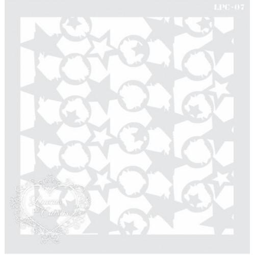 Stencil Estampa Estrelas e Círculos Desgastados - 21x20,5cm - Ref. 07