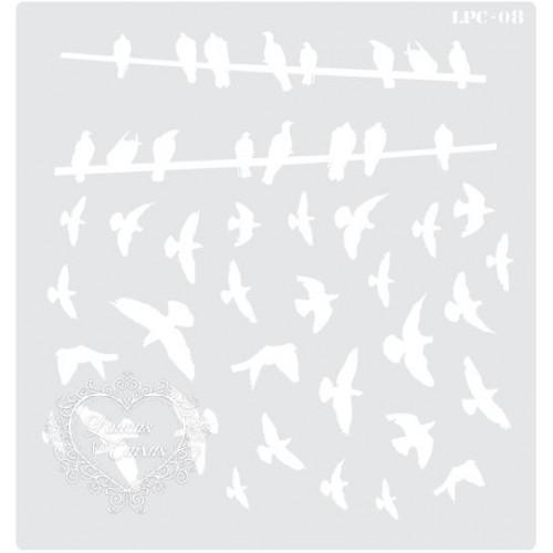 Stencil Pássaros - 20x19cm - Ref. 08