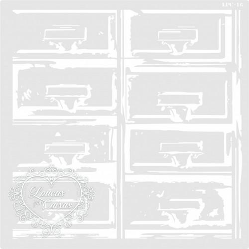 Stencil Gavetas Desgastadas - 23x23cm -Ref. 16