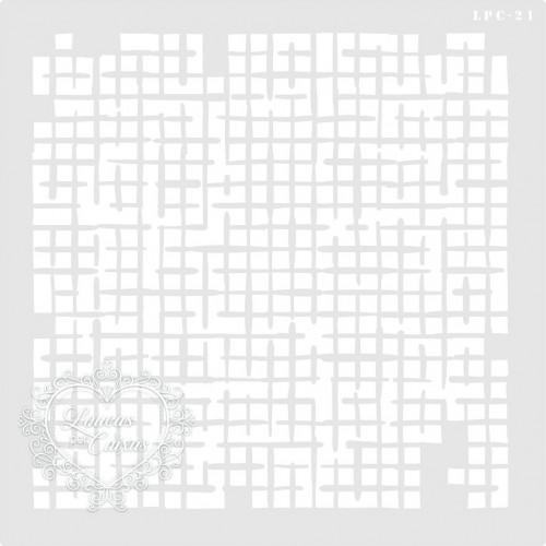 Stencil Quadriculado Desgastado - 25x25cm - Ref. 21