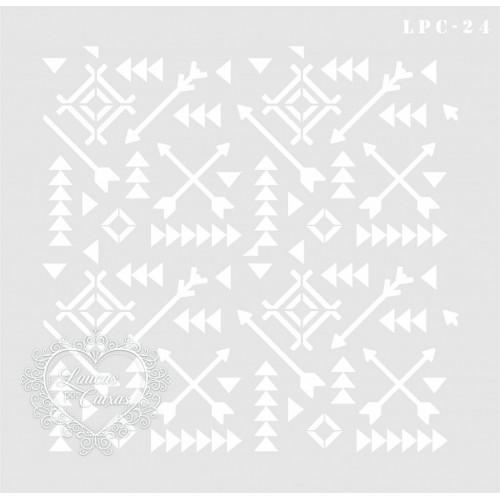 Stencil Fundo Tribal - 21x21cm - Ref. 24
