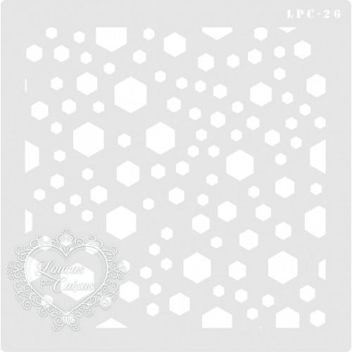 Stencil Fundo Hexágonos - 18x18cm - Ref. 26