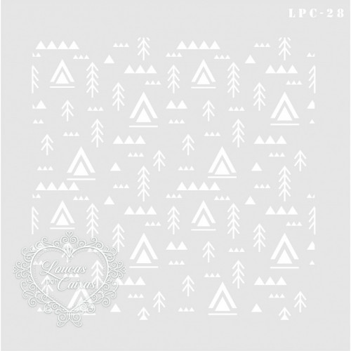 Stencil Fundo Tribal - 21x21cm -Ref. 27
