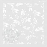 Stencil Fundo Floral - 18x18 cm - Ref. 2..