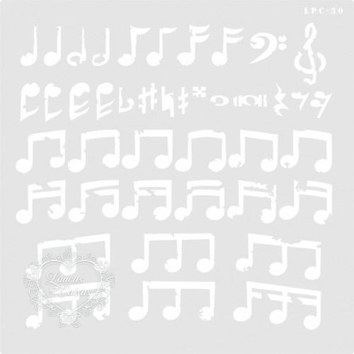 Stencil Notas Musicais - 25x25cm -Ref. 30