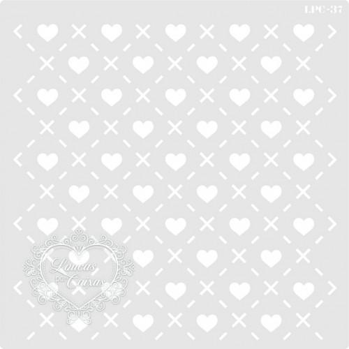 Stencil Estamparia Corações - 16x16cm - Ref. 37