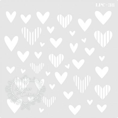 Stencil Corações Listrados - 16x16cm - Ref. 38