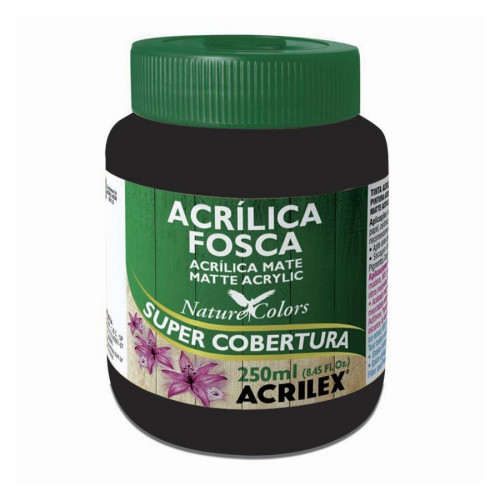 Tinta acrílica fosca 250ml Nature Colors - Preto