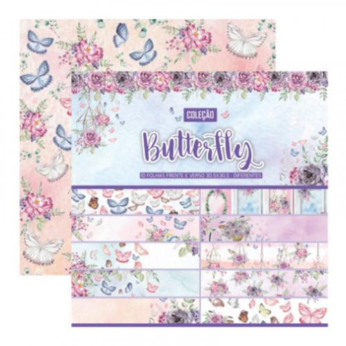 Coleção Butterfly - 10 folhas - 30,5x30,5 - CL-003