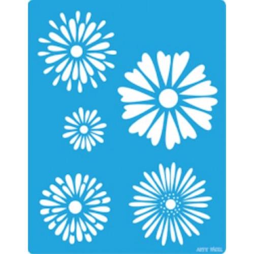 stencil 5 flores - 13x17