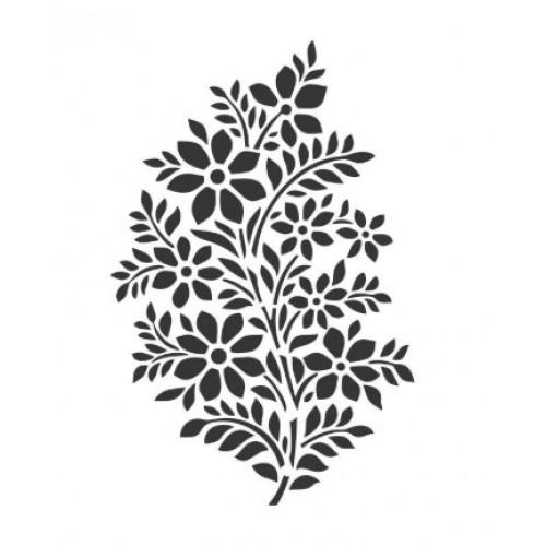 Stencil galho florido - 13x17