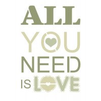 stencil all you need is love - 18x23..