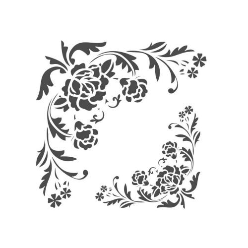 Stencil Cantoneira Arabesco Floral - 18 x 23