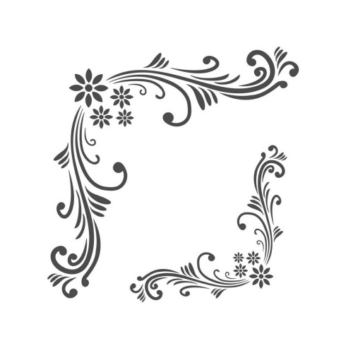 Stencil Cantoneira Floral - 18x23