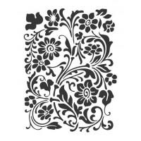 Stencil Estampa Flores e Folhas 18x23..