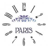 Stencil relógio Paris - 30 x 30..