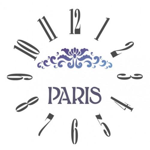 Stencil relógio Paris - 30 x 30