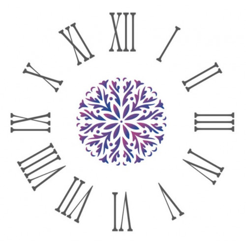 Stencil relógio Mandala - 30 x 30