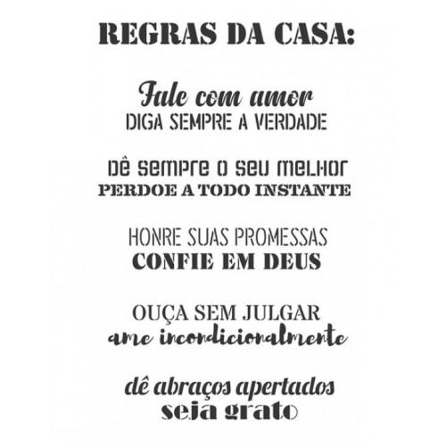 Stencil frases Regras da Casa - 2 unidades - 32 x 24,5