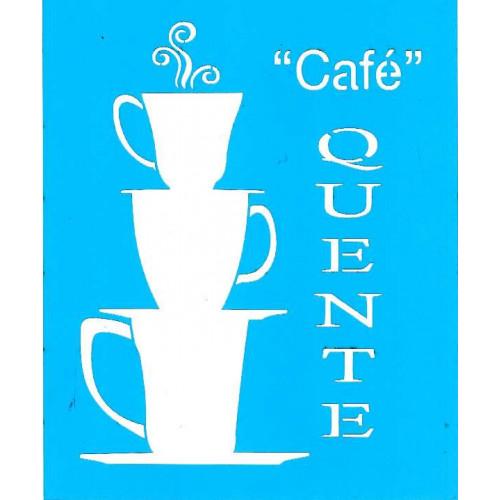 Stencil Café Quente - 17 x 21 cm