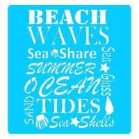Stencil Beach Waves - 19x20..