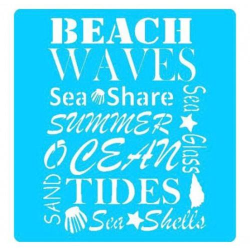 Stencil Beach Waves - 19x20