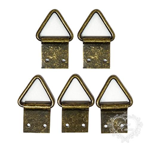 Suporte para Quadros Triângulo 18x39mm - 5 unid - Ouro Velho