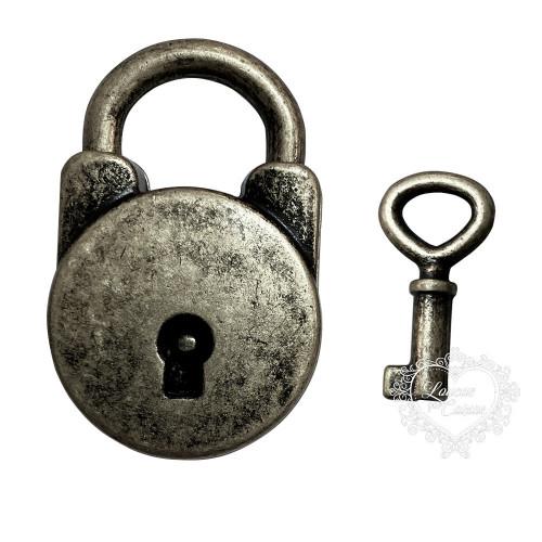 Cadeado Com Chave - 1 Unid - Prata Velho
