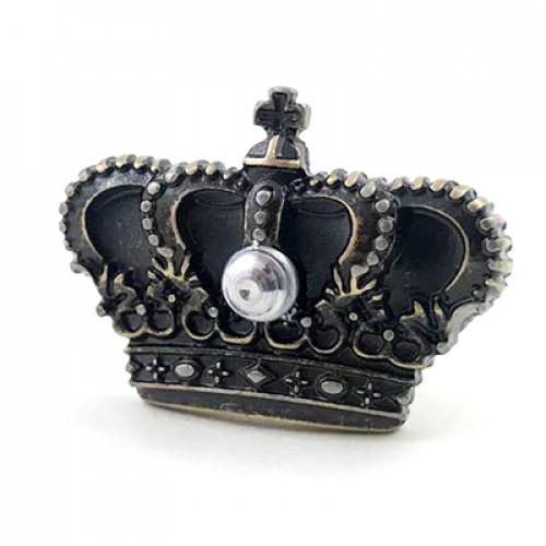 Puxador Coroa Com Parafuso - 2 Unid - Prata Velho