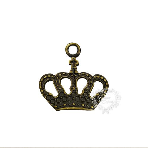 Coroa Pingente P - Kit Com 10 Un - Ouro Velho