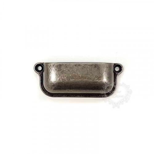 Puxador Retangular Liso - 2 Unid - Prata Velho