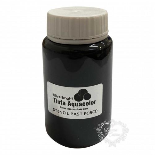 Tinta Aquacolor Stencil Paste Fosco Silverbright - Preto Fosco